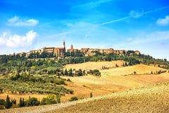 Toscanië, het middeleeuwse dorp van Pienza. Siena, Val D Orcia, Italië royalty-vrije stock foto's