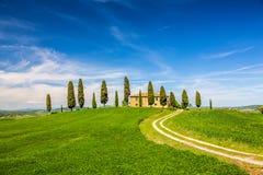 Toscanië bij de lente Stock Afbeeldingen