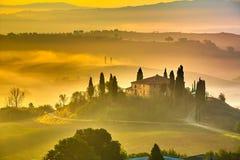 Toscanië bij vroege ochtend Royalty-vrije Stock Afbeelding