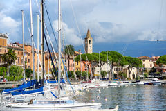 TOSCOLANO-MADERNO, ITALY - SEPTEMBER 18, 2016: Beautiful views of Toscolano-Maderno, a town and comune on the West coast of Lake G Stock Photo