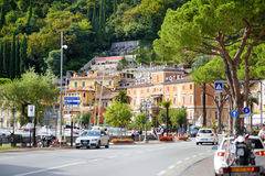 TOSCOLANO-MADERNO, ITALY - SEPTEMBER 18, 2016: Beautiful views of Toscolano-Maderno, a town and comune on the West coast of Lake G Stock Photography
