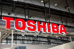 Toshiba company logo sign on exhibition fair Cebit 2017 in Hannover Messe, Germany Stock Photos