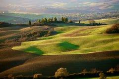Toskańska wieś, włoszczyzna krajobraz, zmierzch Zdjęcie Royalty Free