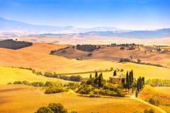Toskana-, Ackerland- und Zypressenbäume, Grünfelder. San Quirico Orcia, Italien. Stockbilder