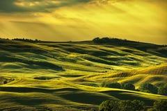 Toskana-Frühling, Rolling Hills auf Sonnenuntergang Landwirtschaftliche Landschaft Grün Stockfotografie