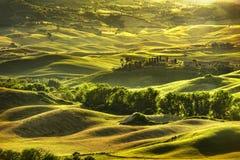 Toskana-Frühling, Rolling Hills auf Sonnenuntergang Landwirtschaftliche Landschaft Grün Lizenzfreie Stockfotos