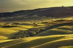 Toskana-Frühling, Rolling Hills auf Sonnenuntergang Landwirtschaftliche Landschaft Grün Lizenzfreie Stockbilder