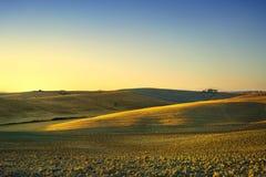 Toskana-Frühling, Rolling Hills auf Sonnenuntergang Landwirtschaftliche Landschaft Grün Stockbilder