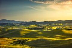 Toskana-Frühling, Rolling Hills und Grünfelder auf Sonnenuntergang landwirtschaftlich Lizenzfreies Stockbild