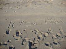 Toskana geschrieben in Sand Stockfoto
