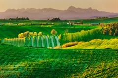 Toskana, ländliche Landschaft des Frühlinges Landschaft Ackerland und mounta Stockfotos