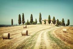 Toskana-Land haus- Malerei des Weinlesefotos stockfoto
