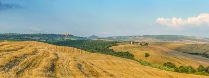 Toskana-Landschaft mit Rolling Hills bei Sonnenuntergang, Val-d'Orcia, Ita Lizenzfreie Stockfotografie