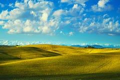 Toskana-Landschaftspanorama, -rolling Hills und -felder auf Sonnenuntergang Lizenzfreies Stockfoto