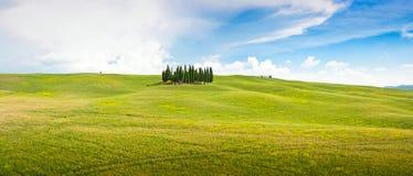 Toskana-Landschaftspanorama in Val-d'Orcia, Italien Stockfoto