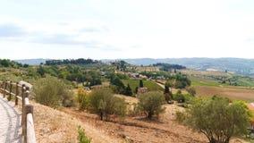 Toskana landskap: vingårdar, olivträd och liten by Arkivbilder