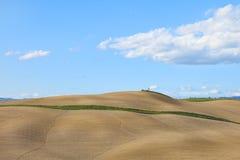 Toskana, landwirtschaftliches gepflogenes Feld, Siena, Italien. lizenzfreie stockbilder