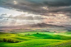 Toskana, ländliche Sonnenunterganglandschaft. Landschaftsbauernhof, weiße Straße und Zypressenbäume. Lizenzfreies Stockbild