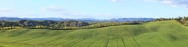 Toskana, Panoramalandschaft, Bauernhof, Felder, Siena Lizenzfreie Stockbilder