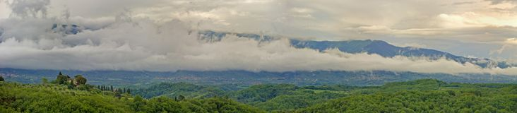 Toskana panoramisch Stockfotografie