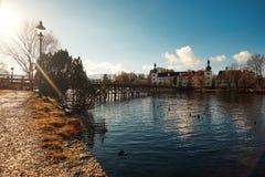 Toskana park z jeziorem Obrazy Stock