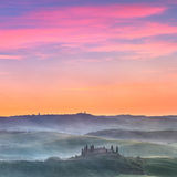 Toskana-Sonnenaufgang Stockbilder