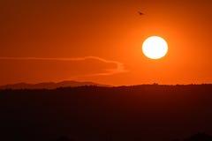 Toskana-Sonnenuntergang Lizenzfreies Stockfoto