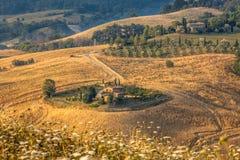 Toskanische Bauernhof-Landschaft stockbild