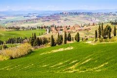 Toskanische Landschaft, Ansicht des grünen Val D'Orcia Lizenzfreies Stockbild