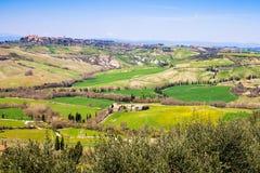 Toskanische Landschaft, Ansicht des grünen Val D'Orcia Lizenzfreie Stockbilder