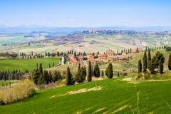 Toskanische Landschaft, Ansicht des grünen Val D'Orcia Lizenzfreie Stockfotografie