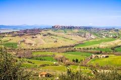 Toskanische Landschaft, Ansicht des grünen Val D'Orcia Lizenzfreies Stockfoto