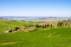 Toskanische Landschaft, Ansicht des grünen Val D'Orcia Stockfoto