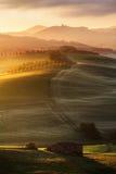 Toskanische Landschaft in der Sonnenaufgang-Leuchte Stockbild