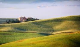 Toskanische Landschaft in der Sonnenaufgang-Leuchte Lizenzfreie Stockbilder