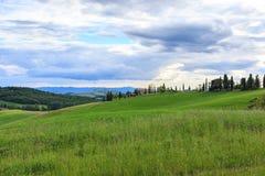 Toskanische Landschaft, Felder und Wiesen nahe Volterra Lizenzfreies Stockfoto