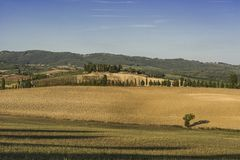 Toskanische Landschaft im Herbst Stockbild