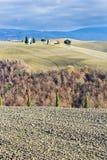 Toskanische Landschaft im Winter, Val d'Orcia (Italien). Stockfotografie