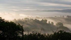 Toskanischer Sonnenaufgang Stockfotografie