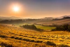 Toskanisches Land an der Dämmerung mit Dunst, Italien Lizenzfreies Stockfoto