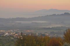 Toskanka krajobraz w zimie Fotografia Stock