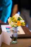 Toss Bouquet at Gift Table Stock Image