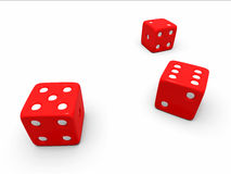 A toss of three red dice. On a white background Stock Photos