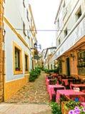 Tossa de Mar, Ισπανία - 14 Σεπτεμβρίου 2015: Ο καφές οδών στην παλαιά πόλη Tossa de Mar σε Κόστα Μπράβα της Καταλωνίας Στοκ Εικόνες