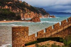 Tossa de Mar Battlement on Costa Brava in Spain Royalty Free Stock Image