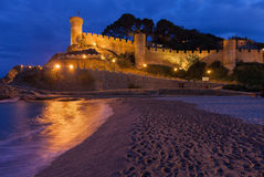 Tossa de Mar Castle and Beach at Night Stock Photo