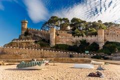 Tossa de Mar Castle in Costa Brava, Catalonia Stock Photos