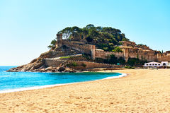 Tossa de Mar Castle. Costa Brava, Spain. Tossa de Mar Castle, view from the beach. Costa Brava, Spain royalty free stock photos