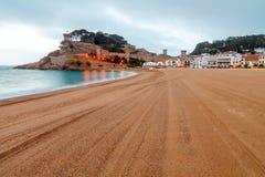 Tossa de Mar. City beach in the morning Stock Photography