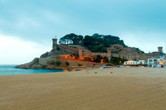 Tossa de Mar. City beach in the morning Stock Images